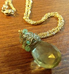 Lemon Quartz Twisted Chain Pendant. $100.00, via Etsy.