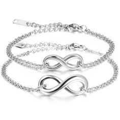 JewelryWe Valentine's Day Gift for Her Stainless Steel Figure 8 Bangle Double-Strand Link Infinity Love Bracelet * To view further for this item, visit the image link.