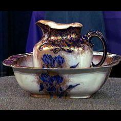 Doulton pitcher & bowl. Gorgeous, I love irises.