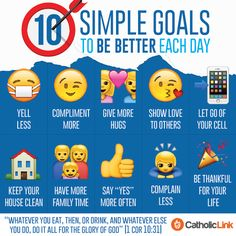 Catholic quotes, infographics, memes and more resources for the New Evangelization. Infographic: 10 Simple Goals For Your Everyday Life. Catholic Quotes, Catholic Prayers, Catholic Catechism, Catholic Beliefs, Daily Goals, Bible Knowledge, Religious Education, Life Lessons, Christ