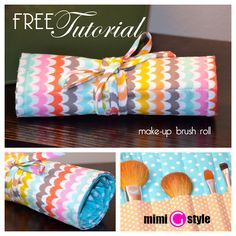 mimi g.: FREE Make-Up Brush Roll Up TUTORIAL! Or for a toiletry bag (toothbrush toothpaste etc)