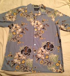 Daniel Cremieux Collection Blue Hawaiian Tropical Floral Print Shirt S/S Large $29 #hawaii #vacation #tropicalshirts #sunshine