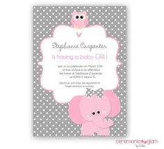 pink and grey elephant baby shower invitations   Baby shower girl elephant and owl pink and grey by ceremoniaGlam, $9 ...
