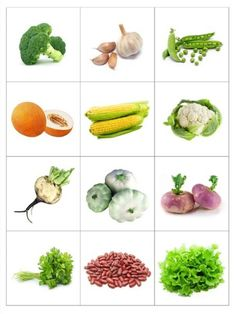 Print out and practice vegetable names - memory matching game or flash cards… Vegetable Crafts, Food Pyramid, Memory Games, Science And Nature, Kids Education, Fruits And Vegetables, Pre School, Preschool Activities, Kids And Parenting