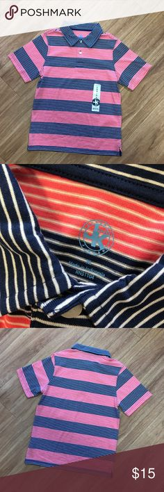"J. Khaki NEW Coral Navy Stripe Polo NWT Soft M 10 J. Khaki NEW Coral Navy Stripe Polo NWT Soft M 8/10  I am guesstimating this at an 8/10 so please check the measurements if you are not familiar with the brand.  Cotton/poly blend.  No hangtags - sticker shown in pic is the ""tag"" from original retail.  22"" long 16"" p to p J. Khaki Shirts & Tops Polos"