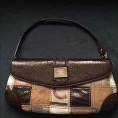 "👜 💛 Liz Claiborne Small Purse! Fun small purse, can dress up or down! Used only 2x. In excellent condition. Canvas mixed with suede leather patches and brown patent leather patches on canvas and also on flap, strap, bottom corners. Print on canvas says ""LC"" for Liz Claiborne. Inside separate zip pocket, 2 pockets for cell or pens and built in zip pocket with leftover space inside for loose items. Magnetic snap closure. Strap can unhook off if you prefer to hold as clutch. 9x4 outside…"