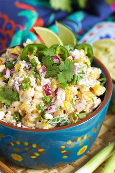 Easy to make Mexican Street Corn Salad recipe is the perfect side dish for Cinco de Mayo and all your summer parties! | @suburbansoapboxc