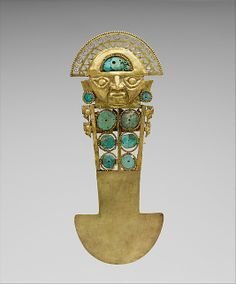 Ceremonial Knife (Tumi)  Date:     10th–11th century Geography:     Peru Culture:     Sicán (Lambayeque) Medium:     Gold, turquoise
