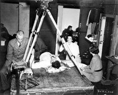 Howard Hawks, Cary Grant and Katharine Hepburn on the set of Bringing Up Baby (1938)
