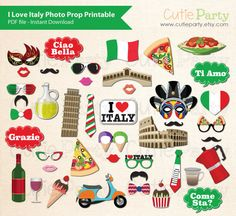 Italy Theme Photo Booth Prop I Love Italy Photo by Cutieparty