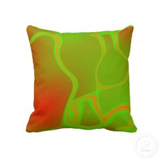 Neon Green and Orange Pillow by Graphic Allusions #neon #orange #green #cushion