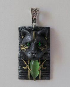 Cat pendant, Bastet, polymer clay pendant by ClaymanPL on Etsy