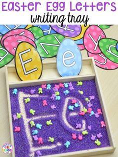 Easter writing tray make handwriting fun. Plus peeps 5 senses and taste test FREEBIE. For preschool, pre-k, and kindergarten.