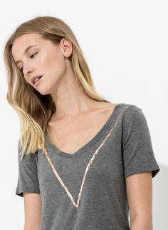 Women's Printed V-Neck T-Shirt | V Tee