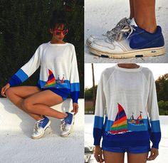 Get this look: http://lb.nu/look/5620649  More looks by Luna Nova: http://lb.nu/user/1256395-Luna-N  Items in this look:  Vintage Rainbow Sailboats Sweater, Thrifted Ombré Nike   #nike #vintagesweater