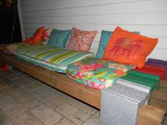 cinder block bench, outdoor furniture, outdoor living, patio, repurposing upcycling, Sit back Relax Enjoy your new seating area