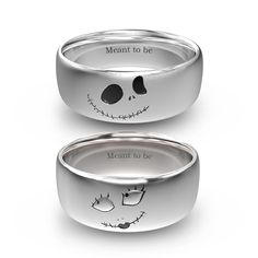 Nightmare before Christmas Jack And Sally Rings In Titanium For Couples for Valentines Gift Skull Wedding Ring, Skull Engagement Ring, Solitaire Engagement, Gold Wedding, Nightmare Before Christmas Rings, Couple Rings, Promise Rings For Couples, Disney Jewelry, Jack Skellington