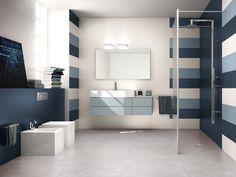Bagno realizzato con i colori Blu e Avio della collezione Lace. Versatilità ed eleganza sono le due peculiarità da cui è nata Lace, la collezione di rivestimenti ideale per bagni di design. http://www.supergres.com/your-home/rivestimenti/item/162-lace  #Bathroom #RivestimentoBagni #WallTiles #CeramisOfItaly
