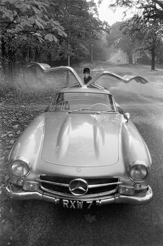 Mercedes Gullwing by Philip Townsend.    The Mercedes-Benz 300SL was introduced in 1954 as a two-seat, closed sports car with distinctive gull-wing doors. Later it was offered as an open roadster. It was the fastest production car of its day.