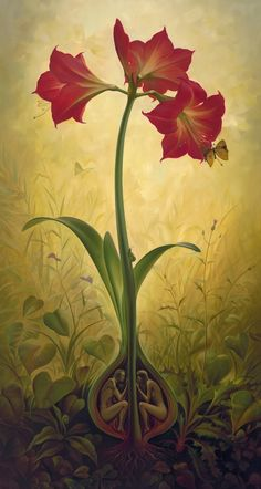 """Thoughts Behind Surreal artworks of Vladimir Kush. """"The Amaryllis bulb is a symbol of Paradise, the enclosed space. Away from strangers' eyes, the love of a Man and a Woman bulges and eventually turns into a magnificent red flower, spreading its petals toward the sky."""""""