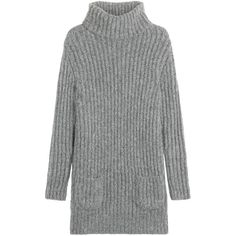 Claudia Schiffer for TSE Knit Sweater Dress ($550) ❤ liked on Polyvore featuring dresses, sweaters, grey, sweater dress, grey sweater dress, gray sweater dress, slimming dresses and gray dress