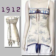 Edwardian Reproduction PDF Pattern - - Corset half waist) made from original 1912 pattern Belle Epoque, Edwardian Fashion, Vintage Fashion, Corset Pattern, Gibson Girl, My Fair Lady, Bustier, Underwear, Picnic Dress
