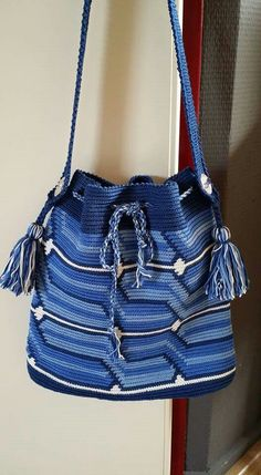 Blue tapestry crochet bag