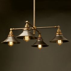Brass Four Bulb E27 Adjustable Shade Light 240V with solid brass tubing and wingnut adjustable lampholder angle.