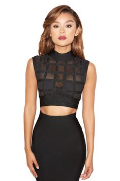 'Parker' Black Bandage and Mesh Cropped Top