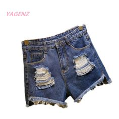 Summer woman jeans Shorts Moustache Effect Leisure Scratched jean short pants Hole jeans girl Shorts high waist femme denim jean #Affiliate