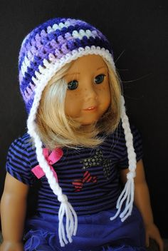 Earflap Hat for 18inch Doll - Free Pattern. This would look so cute on our American Girl dolls this winter.