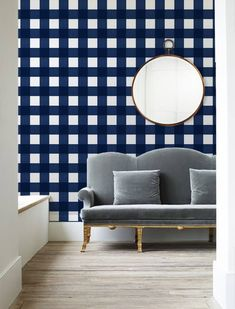 Small Buffalo Check (4 inch) // Bright Navy Removable Peel 'n Stick Wallpaper