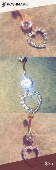 Cute Diamond Heart Belly Ring Never Worn Diamond Heart Belly Ring From Piercing Pagoda Piercing Pagoda Jewelry