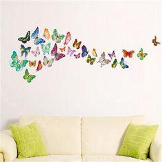 Set de 34 adhesivos murales Mariposas de Walplus, multicolor