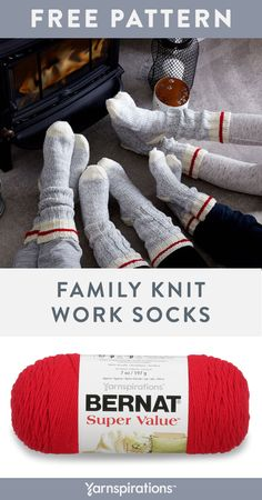 Free knit pattern using Bernat Super Value yarn. Whether working hard or hardly working, these socks are up to task! Knitted Socks Free Pattern, Baby Sweater Knitting Pattern, Crochet Socks, Knit Or Crochet, Knitting Patterns Free, Knit Patterns, Knit Socks, Knitting Ideas, Knitting For Charity