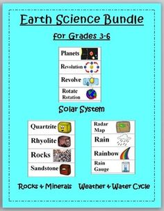 Earth Science Word Wall Bundle - - - Solar System, Weather & Water Cycle, Rocks + Minerals