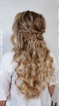 Formal Hairstyles For Long Hair, Down Hairstyles, Long Hair Styles, Hairstyles Videos, Hairstyle Short, School Hairstyles, Hair Updo, Easy Hairstyles, Half Up Wedding Hair