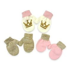 Keep tiny hands warm and looking stylish with Toby N.Y.C. Infant Mittens. This pack of 3 mitten pairs features a pink and gold theme along with a crown graphic pair. Soft and cozy, they're a perfect winter accessory for your little princess.
