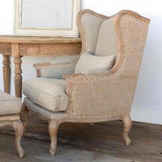 Bayard Burlap and Linen Wing Back Chair #wingbackchair