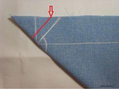 Источник Подгибка конвертом применяется для обработки краев скатертей, салфеток и покрывал. Отмечаем ширину подгибки от 6 до 10 см.   Складываем угол по диагонали. От сгиба к срезу проводим линию под …