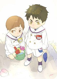 Image about cute in Haikyuu! Haikyuu Fanart, Haikyuu Anime, Otaku Anime, Anime Art, Ushijima Wakatoshi, Anime Boyfriend, Anime Child, Kuroken, Kawaii Art