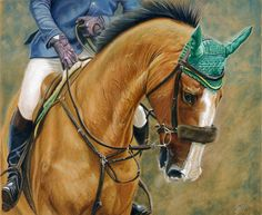 Watercolour Pencil, Gouache and Pastel on textured paper  © Julian Pinnick Equestrian Art