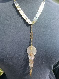 """MOP buttons and gold chain. 17"""" long.  From my summer line. G338  $20.00"""