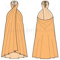 Women's Pareo Dress Fashion Flat Template