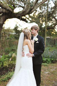 bride and groom, portraits, romantic, winter park presbyterian church wedding florida