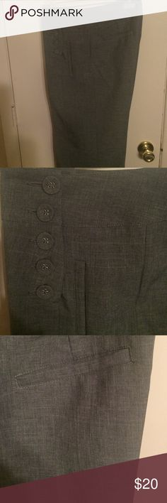 Gray trousers CAbi side button trousers, side slant pockets, back benson pockets, machine washable, excellent condition CAbi Pants Trousers