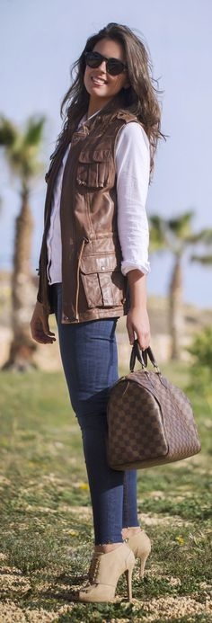 Brown Leather Vest Outfit Idea by 1sillaparamibolso