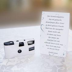 Tischkarte zur Einwegkamera weiß