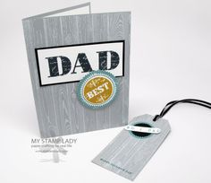 Simple Father's Day card Use the Hardwood stamp to make a fun and great background for your Father's Day cards or tags. www.mystamplady.com