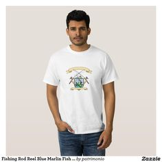 Fishing Rod Reel Blue Marlin Fish Beer Bottle Coat T-shirt. Drawing sketch style illustration of hand holding fishing rod and reel hooking a beer bottle and blue marlin fish with deep sea fishing boat on side set inside crest shield shape coat of arms done in retro style. #fishing #olympics #sports #summergames #rio2016 #olympics2016